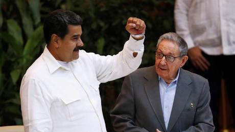 Venezuela's President Nicolas Maduro (L) and Cuba's former President Raul Castro, in Havana, Cuba, July 17, 2018.