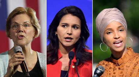 Elizabeth Warren, Tulsi Gabbard and Ilhan Omar В© REUTERS/Lucy Nicholson; Gretchen Ertl; Mary F. Calvert