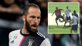 WATCH: Juve star Higuain LOSES IT in training as he kicks coach and destroys advertising board