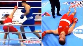 'Brutal & criminal': Amateur boxer leaves ring on stretcher after being KO'd by pro fighter in Russia (VIDEO)