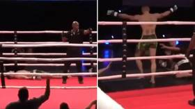 Russian 'Bazooka Arms' takes on blogger in MMA bout – and gets beaten (VIDEO)