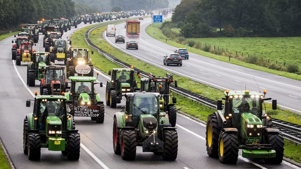 Dutch farmers clog hundreds of miles of highways in protest at politicians labeling them climate 'problem'