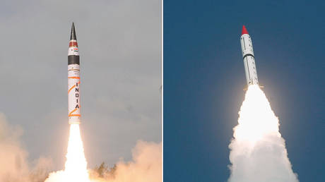 India's Agni-V missile (left) © DRDO; Pakistan's Shaheen II, Hatf-VI (right) © Reuters / Stringer