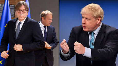 (L) Guy Verhofstadt and Donald Tusk В© Virginia Mayo / AP Pool / AFP; (R) Boris Johnson В© AFP / Paul Ellis