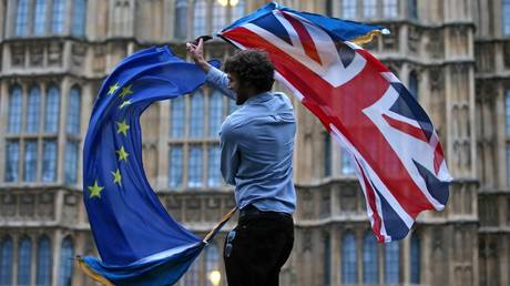 A man waves both a British flag and a European Union flag together outside The Houses of Parliament © AFP / Justin Tallis