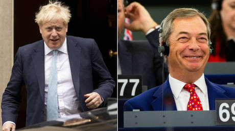 Boris Johnson (right) may nominate Nigel Farage (left) as the UK's EU commissioner. © Global Look Press