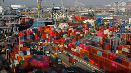 Shipping containers are pictured at the Port of Los Angeles in Los Angeles, California, US. File photo