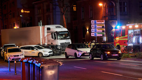 The scene where a truck crashed in to cars stopped at a red light in Limburg, western Germany on October 7, 2019. В© AFP / Sascha Ditscher