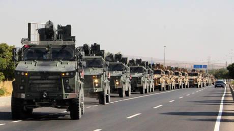 Turkish military convoy in Kilis, near the Turkish-Syrian border, October 9, 2019.