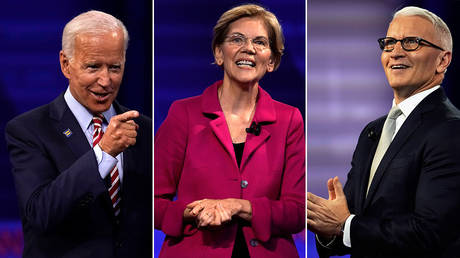 Joe Biden, Elizabeth Warren and Anderson Cooper