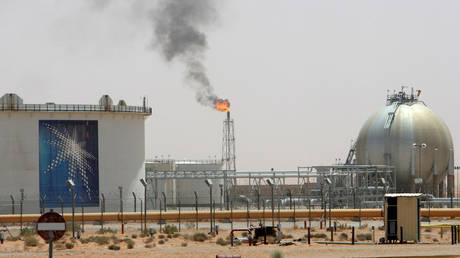 A gas flame is seen in the desert near the Khurais oilfield, Saudi Arabia. File Photo