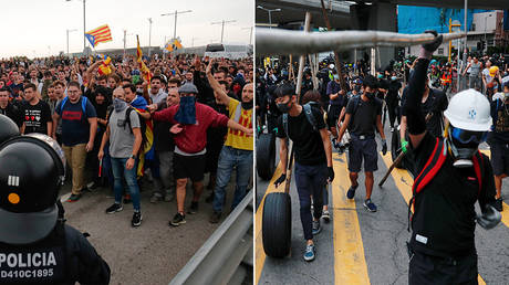 (L) Protesters clash with Spanish policemen on the highway leading to El Prat airport in Barcelona on October 14, 2019 © AFP / PAU BARRENA; (R) Anti-government protesters at Sham Shui Po, in Hong Kong, October 6, 2019 © REUTERS/Tyrone Siu