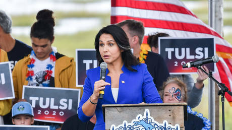 US Representative and Democratic Presidential hopeful Tulsi Gabbard addresses supporters in Charleston, South Carolina on October 5, 2019