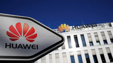 The logo of Huawei in front of the German headquarters of the Chinese telecommunications giant in Duesseldorf, Germany