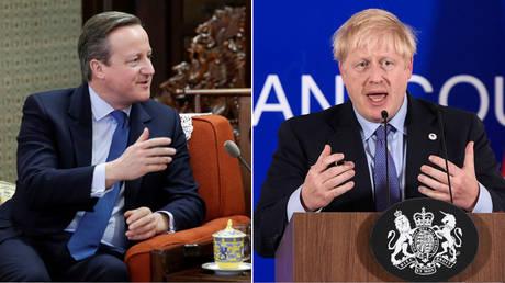 (L) Former UK Prime Minister David Cameron © Reuters / Jason Lee / Pool; (R) UK Prime Minister Boris Johnson © AFP / THYS