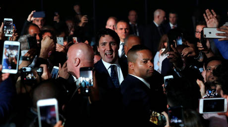 Canadian PM Justin Trudeau arrives to speak to supporters after the federal election in Montreal, Quebec, Canada October 22, 2019
