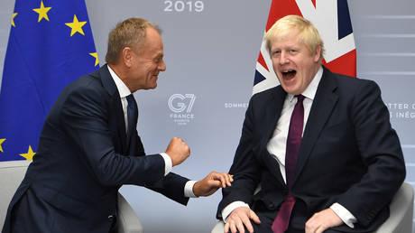 European Union Council President Donald Tusk meets Britain's Prime Minister Boris Johnson meets in Biarritz, France on August 25, 2019.
