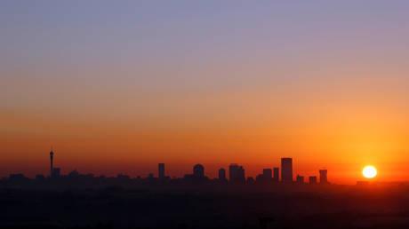 Sun rises in Johannesburg, South Africa