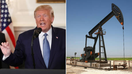 FILE PHOTO (L) US President Donald Trump; (R) Oil field in Al-Hasakah governorate of Syria © REUTERS/Tom Brenner