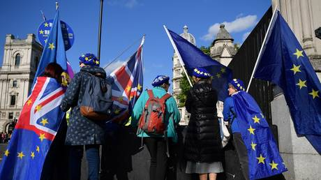 Anti-Brexit activists hold EU and Union flags as they protest outside the Houses of Parliament in London © AFP / Daniel Leal-Olivas