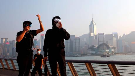 Protesters at Tsim Sha Tsui is in Hong Kong, China, October 27, 2019. © Reuters / Tyrone Siu