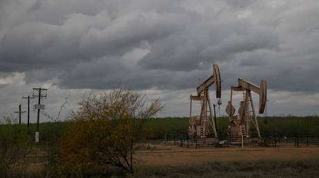 Pump jacks at an oil extraction site in Cotulla, Texas