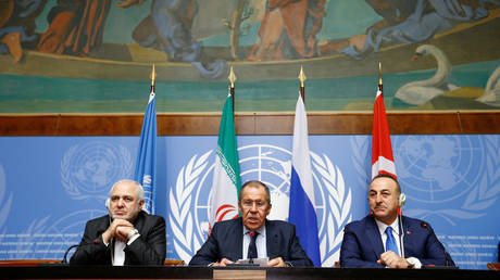 Turkey's Foreign Minister Mevlut Cavusoglu, Iran's Foreign Minister Mohammad Javad Zarif and Russian Foreign Minister Sergei Lavrov in Geneva, Switzerland, October 29, 2019.