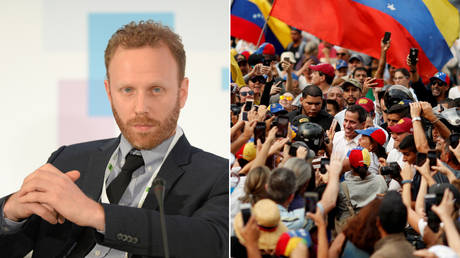 American journalist Max Blumenthal; US-backed Venezuelan opposition figure Juan Guaido surrounded by supporters in Caracas. ©  Sputnik / Mikhail Voskresenskiy;  Reuters / Carlos Garcia Rawlins