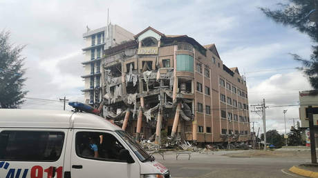 A damaged hotel building after an earthquake in Kidapawan City, Philippines, October 31, 2019.