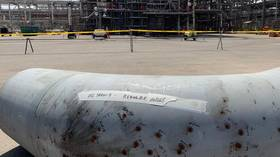 An oil pipe damaged in September 14 attack on the Saudi Aramco facility