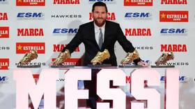 The Golden Shoe: Watch Lionel Messi receive his SIXTH annual top goalscorer award at Barcelona ceremony