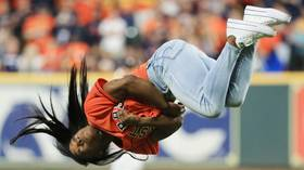 Best first pitch ever? Simone Biles performs spectacular twisting BACKFLIP before Nationals-Astros World Series game (VIDEO)