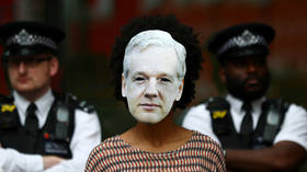 A protester wears a Julian Assange mask outside Westminster Magistrates Court in London, June 14, 2019. © Reuters / Hannah Mckay