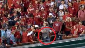 'What a legend': Baseball fan lauded for keeping hold of two beers while taking home run drive to the gut (VIDEO)