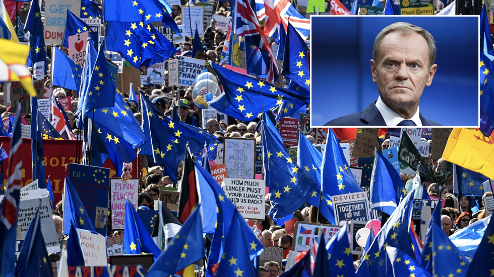 'Don't give up!' Tusk urges Brits to keep fighting to stop Brexit, otherwise it's the 'end of the British Empire'