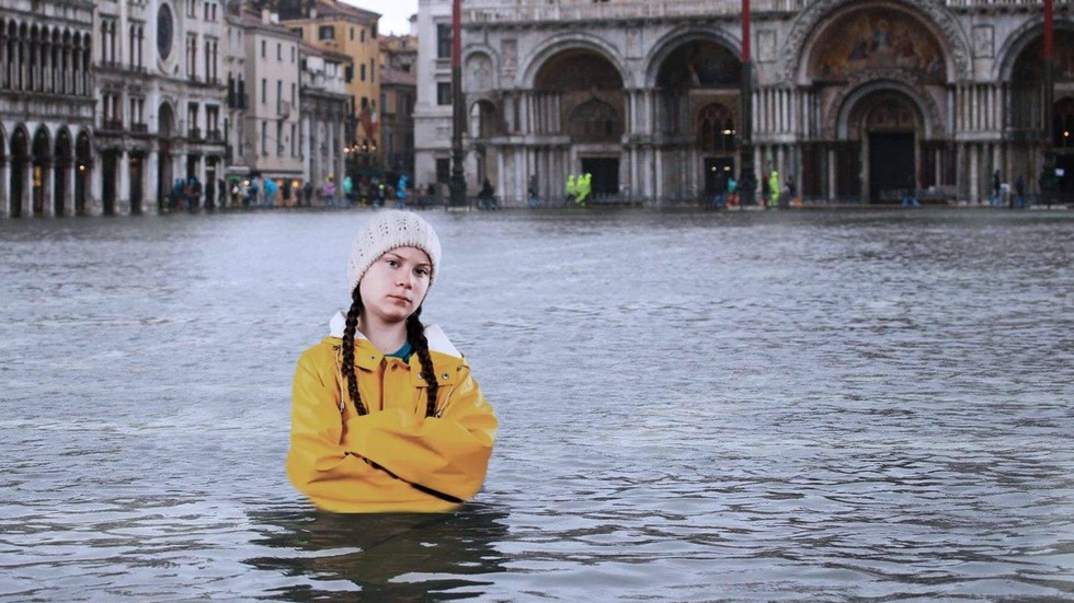 'I told you': Twitter users irate as ghoulish Greta Thunberg meme used to troll flooded Venice