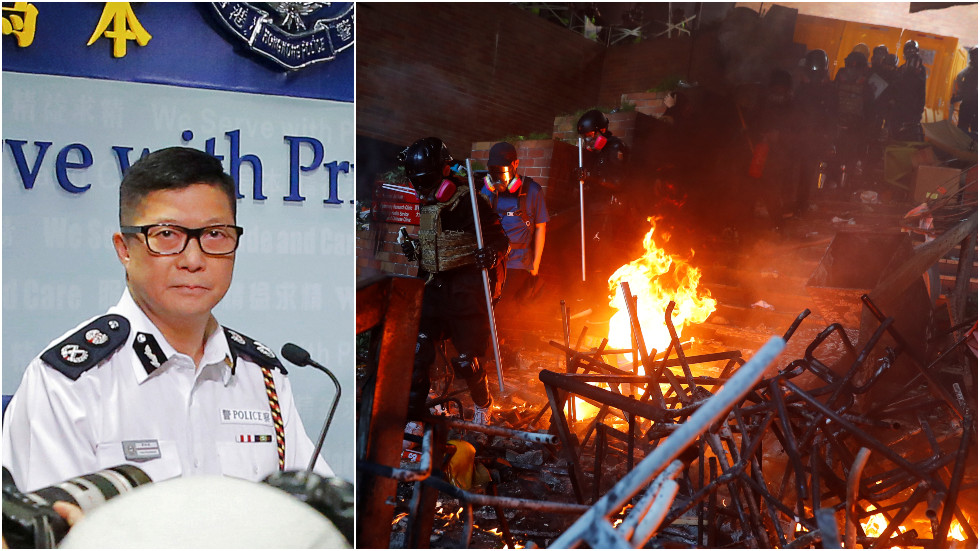 New HK police chief urges locals to 'condemn the violence' as 600 students surrender in university siege standoff