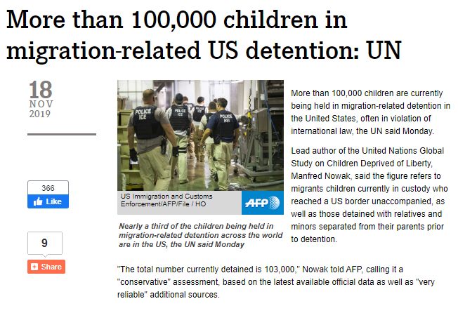 Wrong narrative? AFP & Reuters scrub story about 100,000 detained migrant children after UN says it happened on Obama's watch
