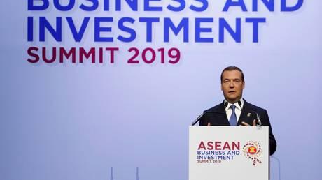 Dmitry Medvedev speaks at 2019 ASEAN Summit © RIA Novosti / Dmitry Astakhov