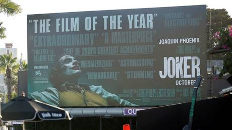 "A billboard advertising the film ""Joker"" is pictured in Los Angeles. © Reuters / Mario Anzuoni"