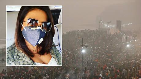 Actress Priyanka Chopra has spoken up about the pollution in New Delhi. © Instagram/ priyankachopra; background: Smog in New Delhi © Reuters