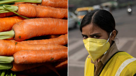 Carrots © REUTERS/Andrew Yates ; A policewoman wears a mask to protect herself from air pollution in New Delhi, India, November 4, 2019. © REUTERS/Danish Siddiqui