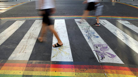 FILE PHOTO: Crosswalks, painted as a rainbow flag, are pictured in the street near the Gay Games village at the Hotel de Ville city hall in Paris, France, August 4, 2018. © REUTERS/Regis Duvignau