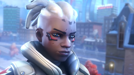 The Overwatch franchise's first playable black female hero Sojourn seen in a screenshot from the Overwatch 2 gameplay trailer