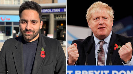 (L) Ali Milani, the Labour Party candidate © Reuters / Will Russell; (R) British PM Boris Johnson © Reuters / Phil Noble