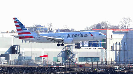 An American Airlines Boeing 737 Max 8, on a flight from Miami to New York City, comes in for landing at LaGuardia Airport in New York, U.S., March 12, 2019. © REUTERS/Shannon Stapleton