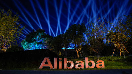 The logo of Alibaba Group is seen during Singles' Day global shopping festival at the company's headquarters in Hangzhou © Reuters / Aly Song