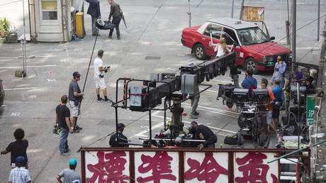 A film crew works on a Hollywood blockbuster in Hong Kong (file photo)