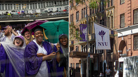 (L) Graduating students celebrate at the conclusion of New York University's commencement ceremony © AFP / GETTY IMAGES NORTH AMERICA / Drew Angerer; (R) New York University Building © Wikimedia / Jonathan71