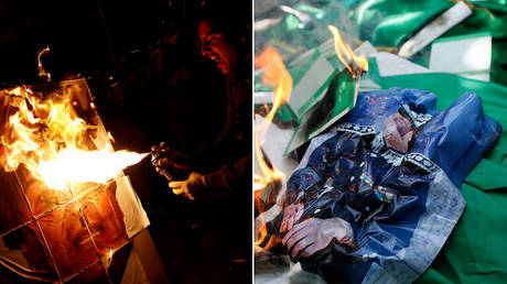 Protesters set fire to posters of Bolivia's Evo Morales (L) and Libya's Muammar Gaddafi (R) ©  Reuters / Kai Pfaffenbach;  Reuters / Umit Bektas